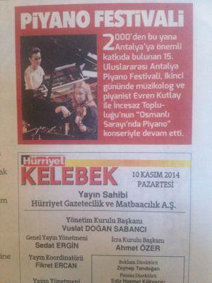 2014 Uluslararası Antalya Piyano Festivali Haberlerinden